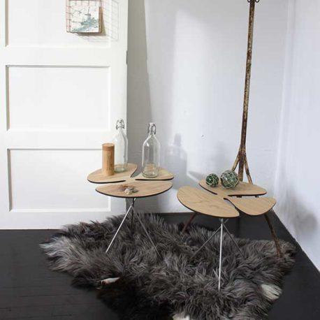 Pluk design bijzettafel essenhout of notenhout