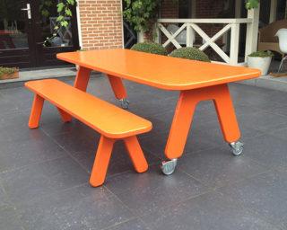 Eetbankje Picknick on Wheels POW, kleur oranje