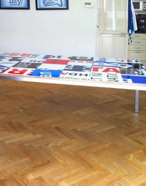Bouwborden tafel op maat zwart wit rood