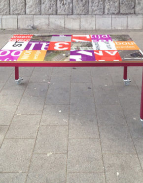 Bouwborden tafel oranje paars rood