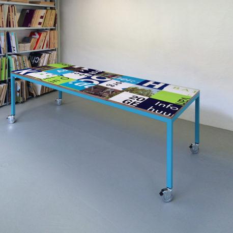 Bouwborden design tafel blauw groen, licht blauw frame