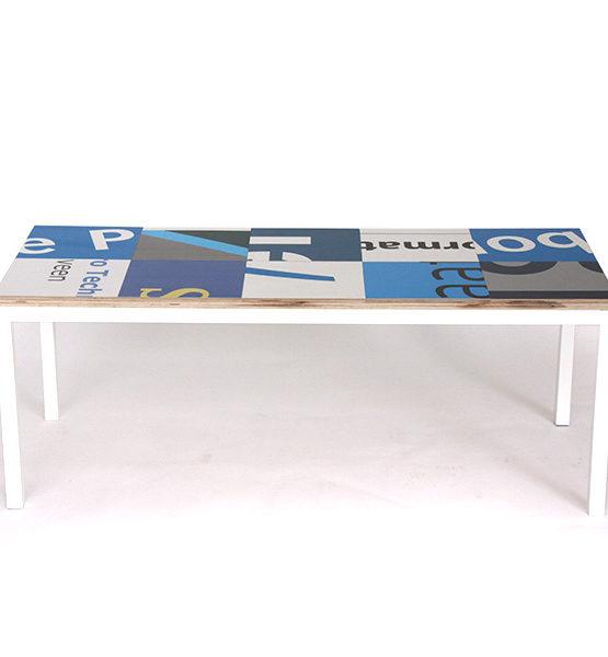 Bouwborden salontafel blauw wit