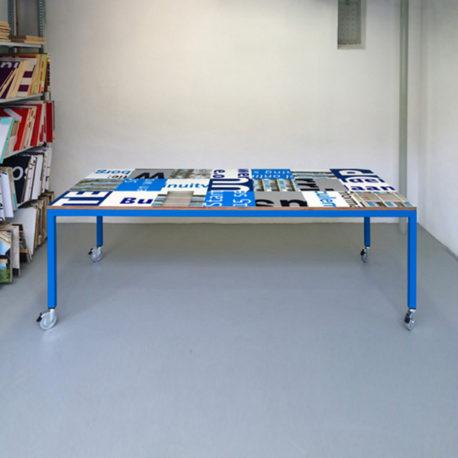 Bouwborden tafel blauw wit, blauw frame