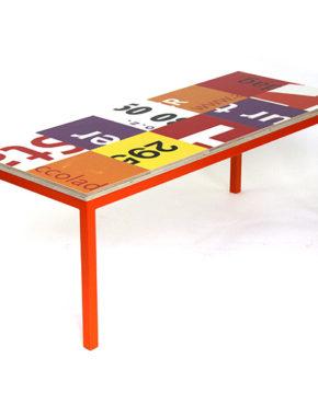 Bouwborden salontafel oranje rood wit