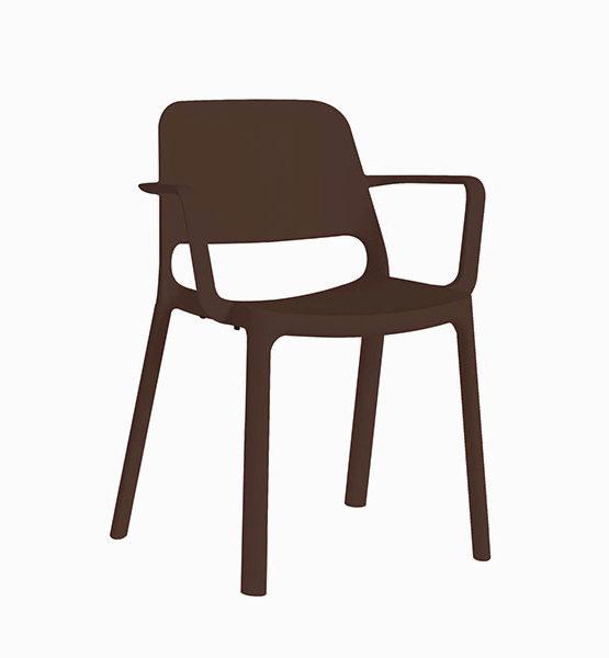Kasper kunststof stapel stoel, bruin