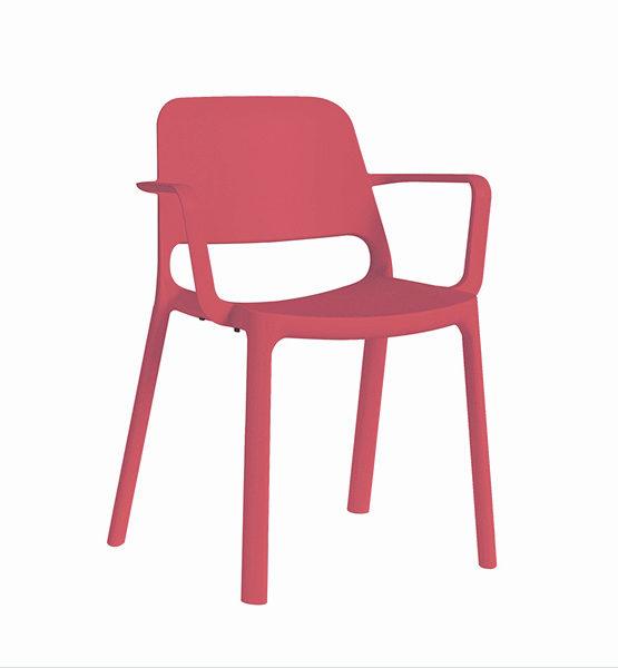Kasper kunststof stapel stoel, koraal rood