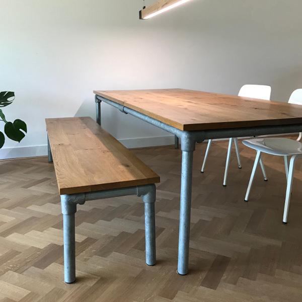 Wonderbaarlijk Steigerbuis tafel + bank – TAFELdesign.nl MK-79