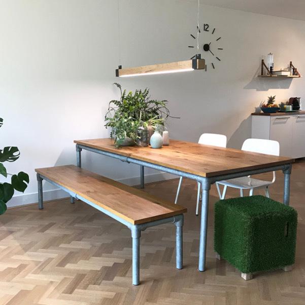 Eettafel Met Eetbank.Steigerbuis Tafel Tafeldesign Nl
