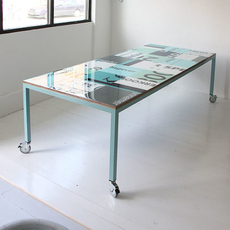 Bouwborden design tafel op maat, kleur mint groen