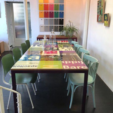 groen paars Bouwborden tafel