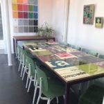 tafel bouwborden groen paars