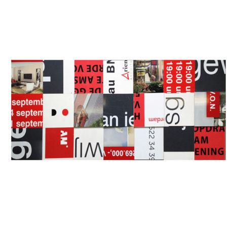 Bouwborden tafelblad 233 x 100 cm Zwart wit rood