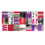 Bouwborden tafelblad 233 x 100 cm paars, rood, wit